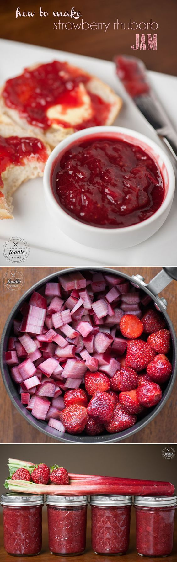Canning in jars is easy when you know How to Make Strawberry Rhubarb Jam from fresh rhubarb, strawberries, sugar and lemon without pectin.