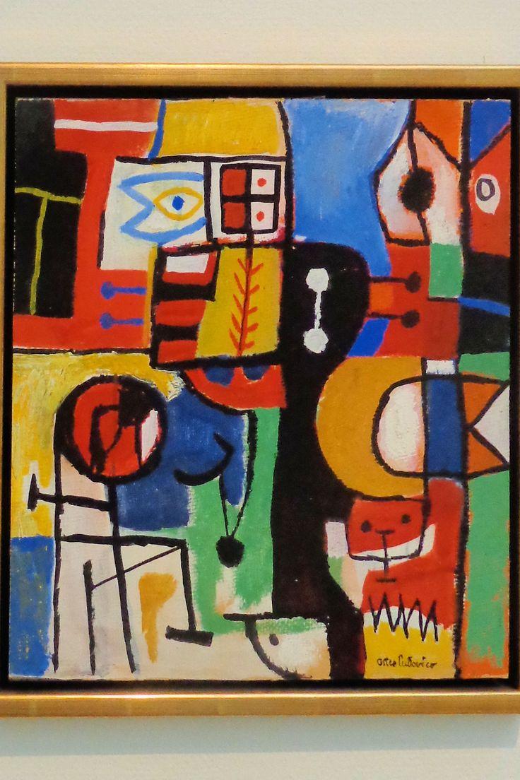 """Genieten van het kunstaanbod van  het Cobra museum: """"Ostre Ludovico"""" door Lucebert uit 1948."""