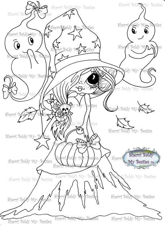 INSTANT DOWNLOAD  Digital Digi Stamps Big Eye Big Head Dolls Digi  My Besties Halloweem Boo By Sherri Baldy
