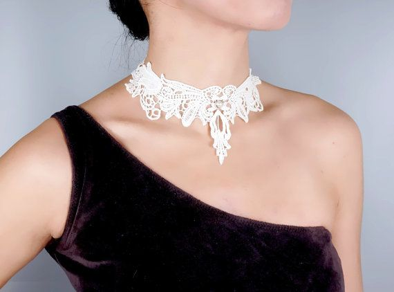gothic black/white lace choker necklace  victorian by LaceFancy