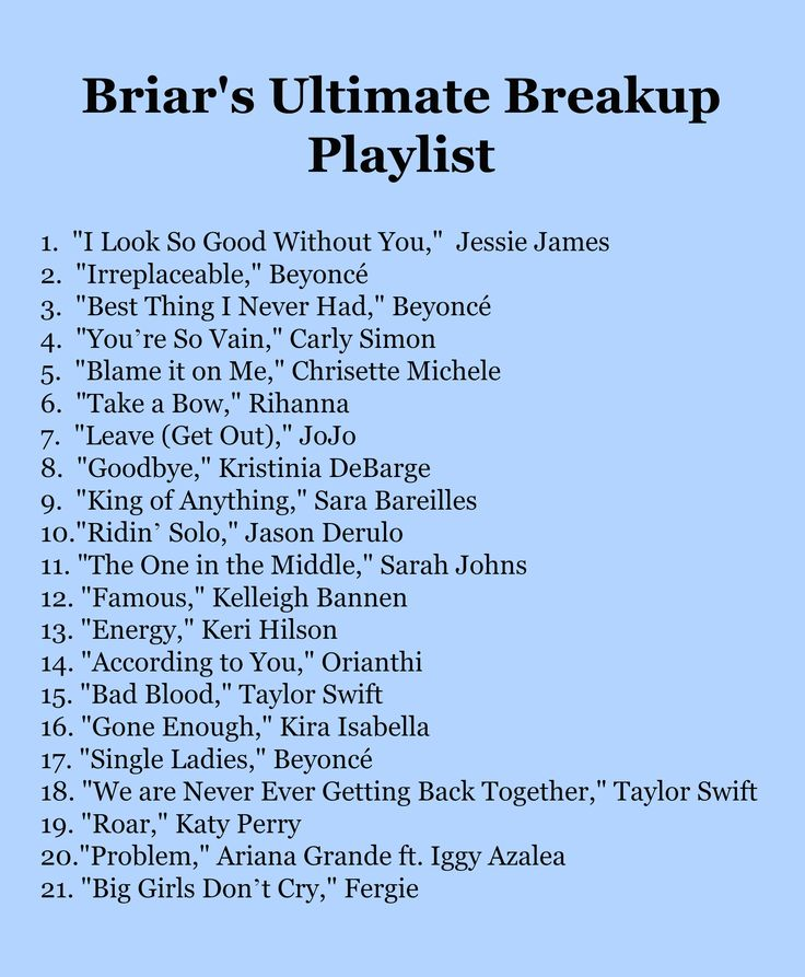 Briar's Ultimate Breakup Playlist. 21 empowering songs to get you through a tough breakup - Finding Briar.
