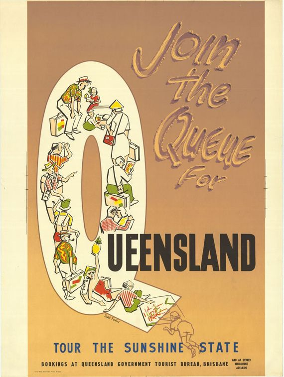 "Vintage Tourism Posters from the 1930's - ""Join The Queue 1939."""