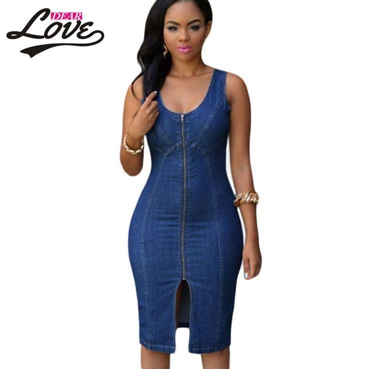 Plus size XXL robe sexy dentelle 2016 Women Party Dresses O-neck Faddish Denim Light Blue Gold Zipper Front Midi Dress LC60659