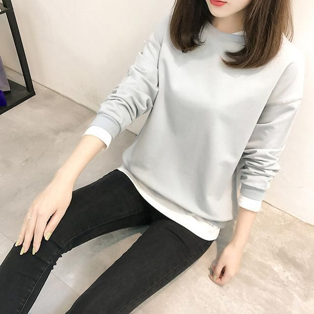 Autumn New Korean Pop Loose Hoodies for Women Casual False Two Pieces Pullover Female Sweatshirt Solid Color M-2XL Thin Hoody