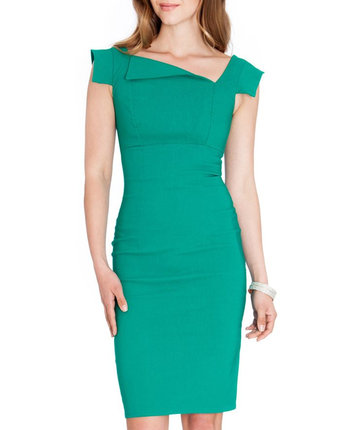 Jade asymmetric collar dress by Goddiva on secretsales.com