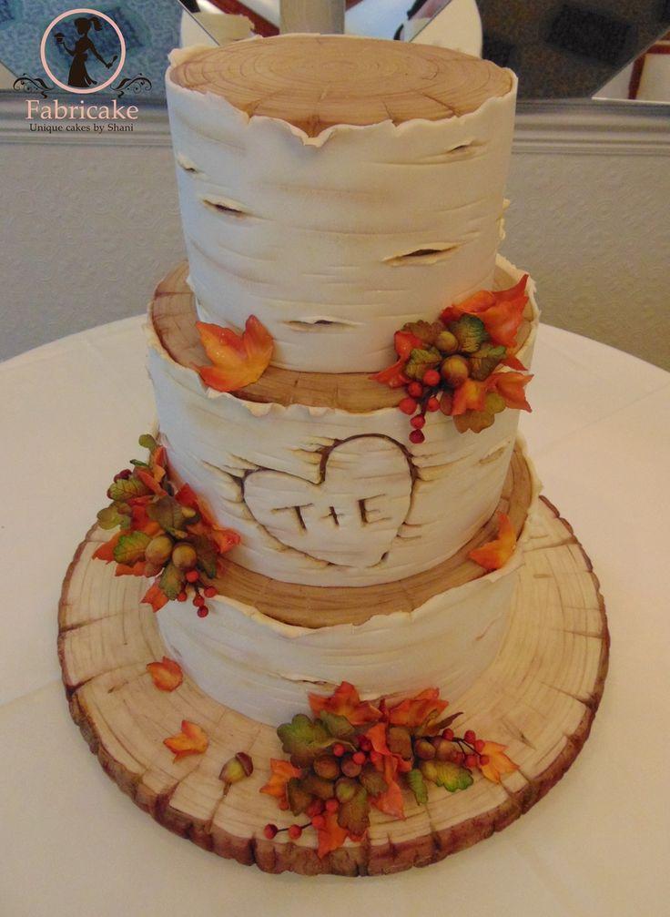 Oak and birch tree autumnal wedding cake.