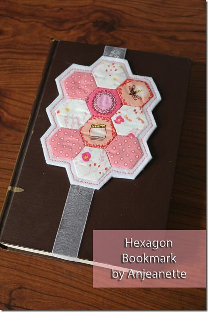 Hexie Bookmark by Anjeanette Klinder - part of the 12 Hexies (or Less) Blog Hop
