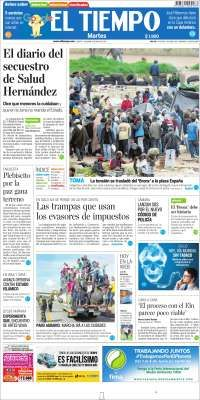 Front page of many newspapers for same day. Site navigable in Spanish, English, French.