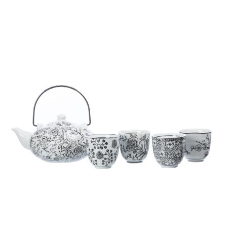Teapot & Cup Set – Black & White from Eastern Tea Party - R289 (Save 0%)