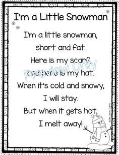 31 best poetry images on pinterest teaching ideas preschool im a little snowman is a printable winter poem for kids use in a poetry notebook as the poem of the week for a winter themed program or let the kids sciox Choice Image