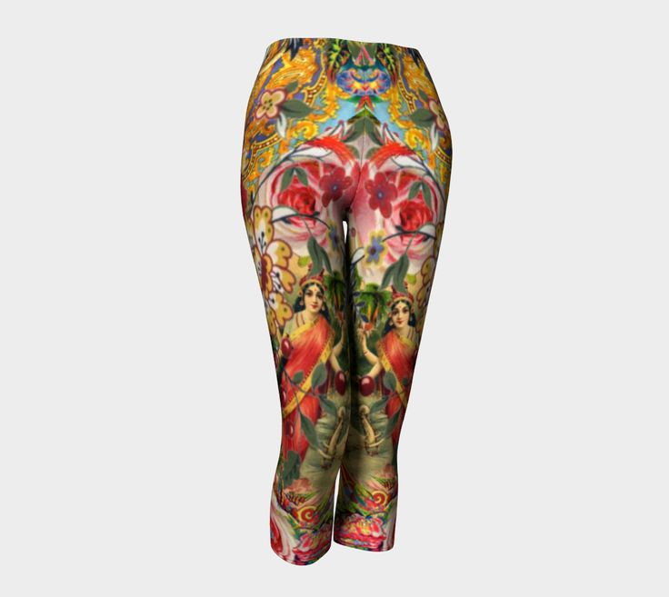 Bohemian Goddess Capris by AtelierBaba. Vibrant print never fades. Opaque, safe to wear for working out. Lovely.