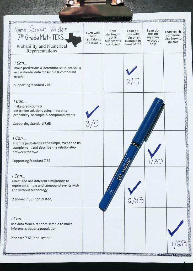 7th Math TEKS Checklist I Can Teacher Ideas 7th