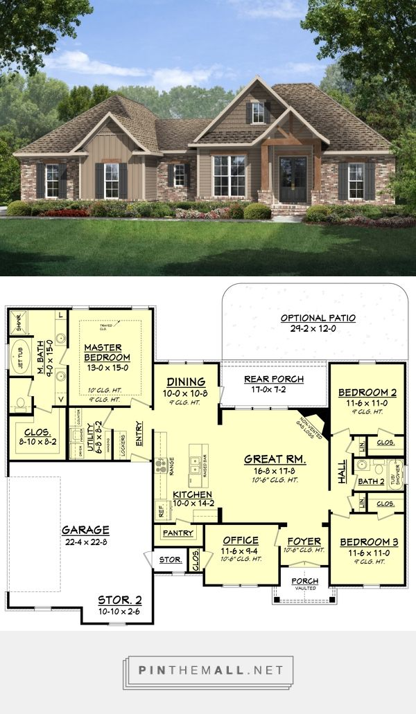 Craftsman style house plan 3 beds 2 baths 1769 sq ft for Home design 99