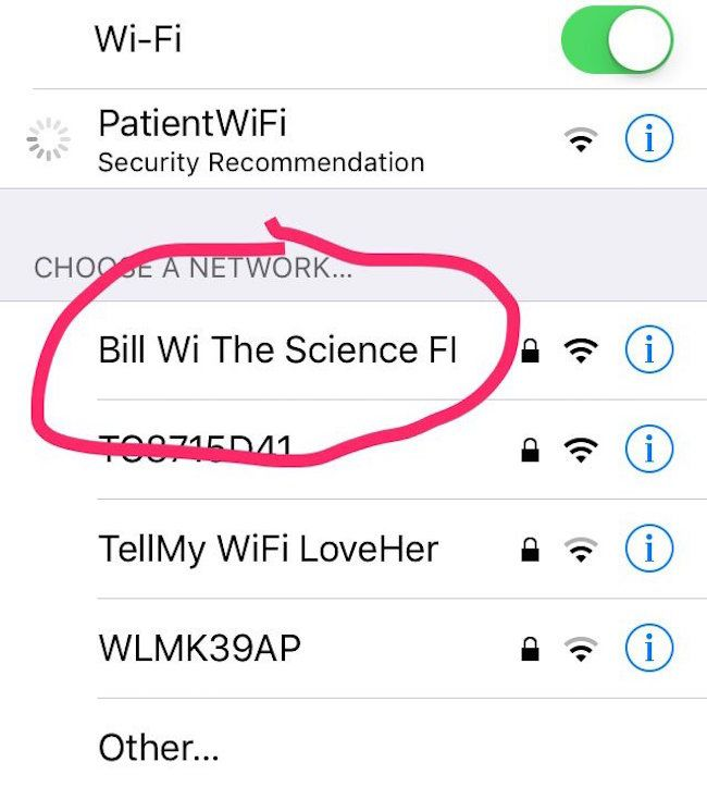 "Haha and the ""tell my wifi love her"""