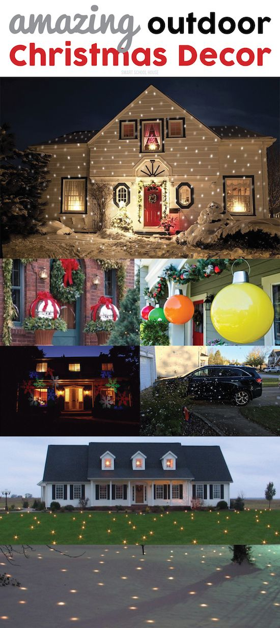 Outdoor Christmas Decor -  I love those evaporating snow flurries and those gigantic DIY outdoor ornaments!