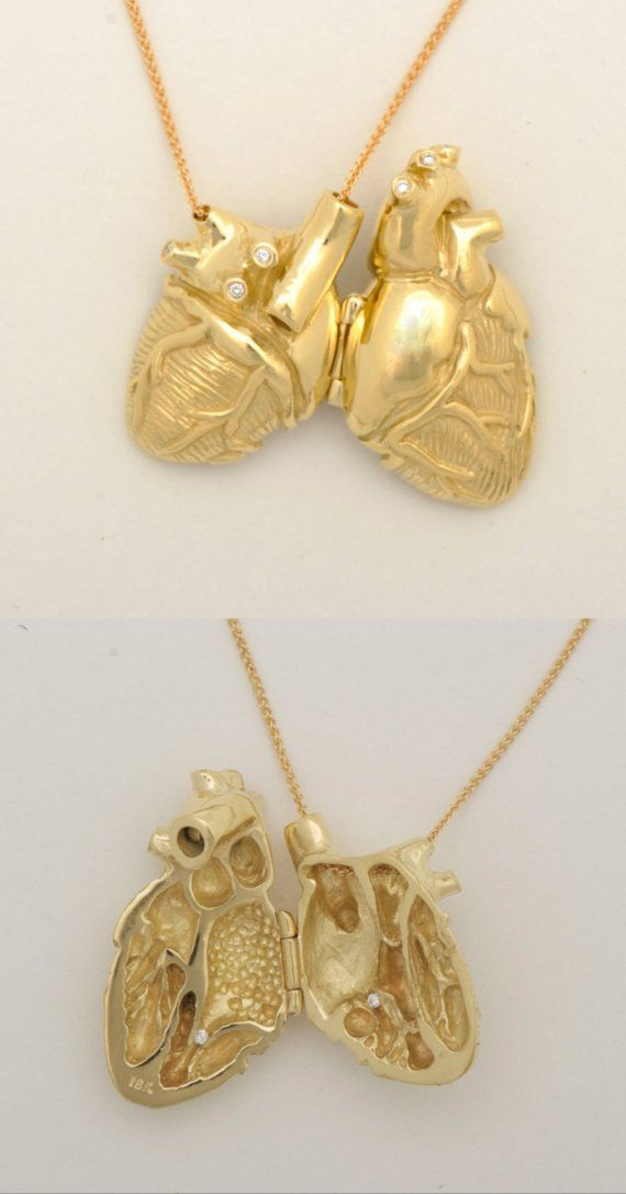 18ky Gold and Diamond Anatomical Heart Locket  Ever since I was little, I wanted a gold anatomical heart necklace instead of an engagement ring. I love everything  about this piece.
