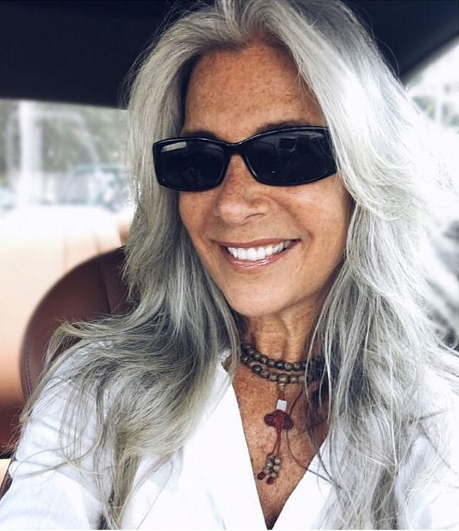 Image result for stylish woman on instagram with long gray hair in braid