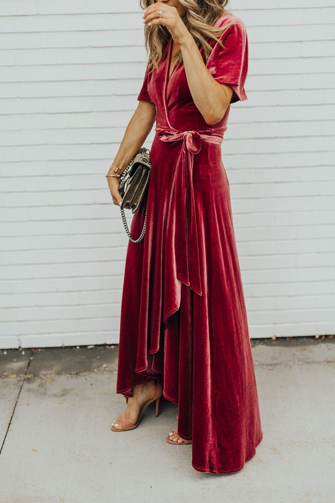 What to Wear to a Fall Wedding | velvet dress, styling velvet dress, styling nude heels, nude heels for fall, fall inspiration, red velvet dress, fall wedding, fall wedding outfits, fashion blogger outfit