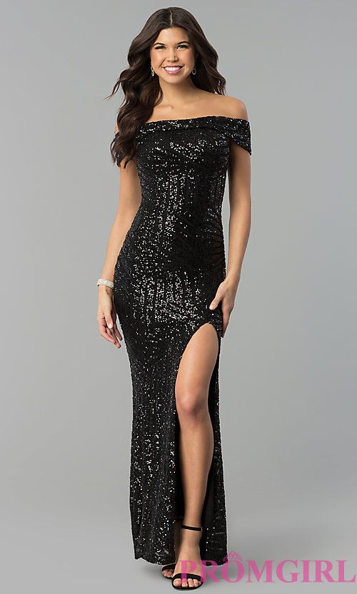 3f8235f264 Image of sequin off-the-shoulder long prom dress with slit. Style: MCR-2362  Front Image