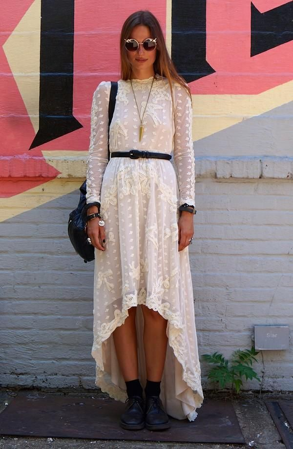 Vintage white lace dress. Love the high-low hem and long sleeves for fall.