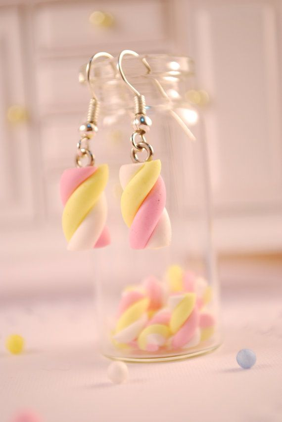 marshmallow earrings food jewelry by SweetArtMiniatures on Etsy, $9.00