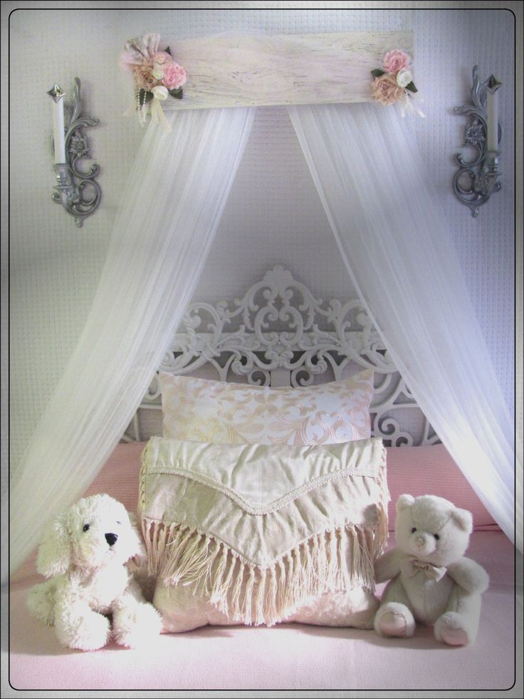 Bed Canopy Girls nursery baby Crib Shabby chic bedroom Pink White Barn Wood Rustic Cottage FREE Curtains So Zoey Boutique custom design Sale by SoZoeyBoutique on Etsy