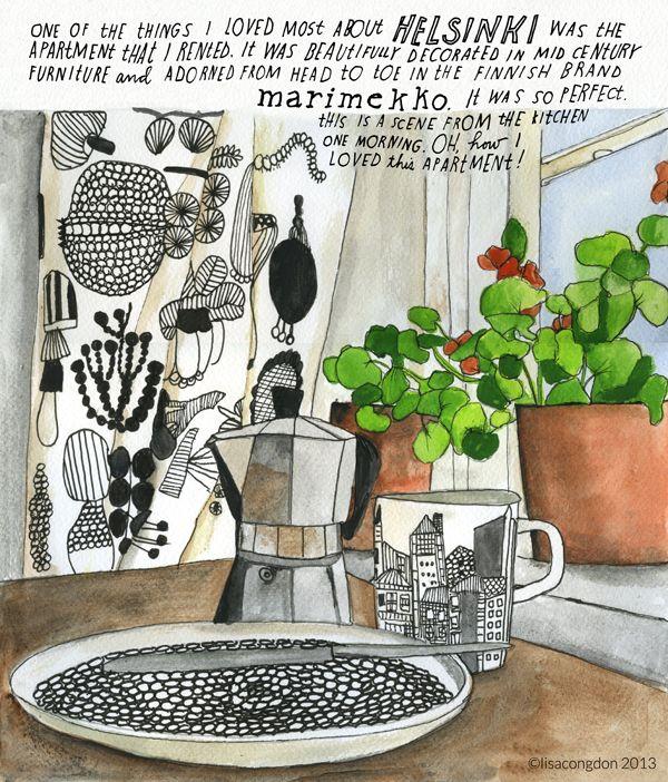 I love the way Lisa Congdon illustrates a scandinavian home #illustration #Helsinki, #Marimekko