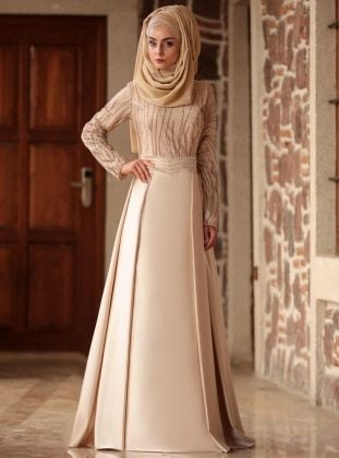 fde8666a3d979 Golden tone - Fully Lined - Crew neck - Muslim Evening Dress in 2019 ...