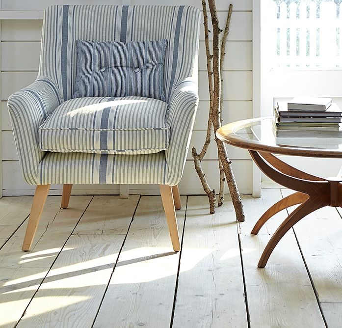 Calmsden Chair in Lapland Stripe Duck Egg and Cornflower from our Woven Collection