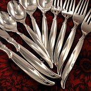 1847 Rogers FLAIR Silverware Set Vintage 1956 Silver Plate Flatware Dinner Service for 4, 8, 12 or 16