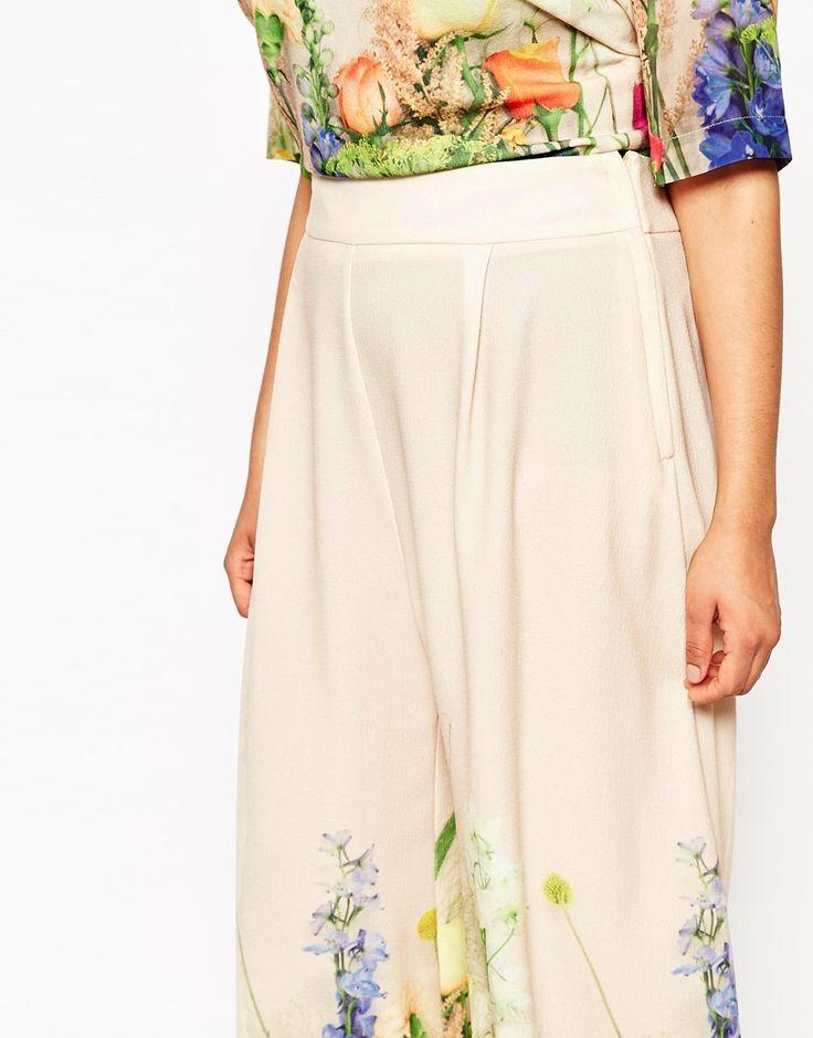 Immagine 3 di ASOS CURVE - SALON - Gonna a pantalone con stampa floreale