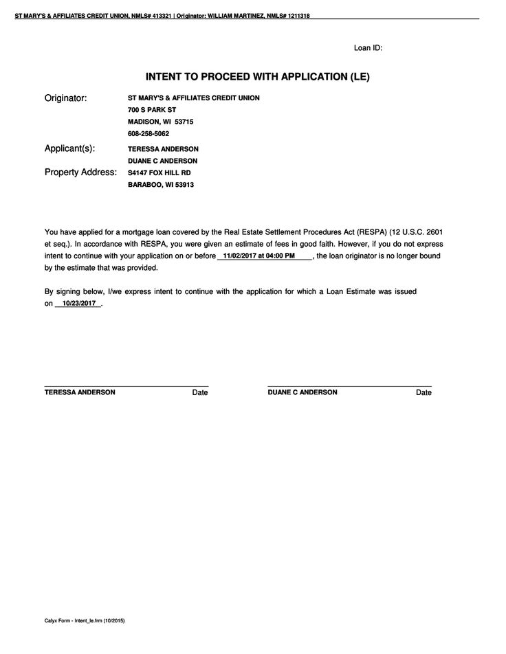 RightSignature Sign Anderson Intent To Proceed And Loan Estimate - loan estimate form