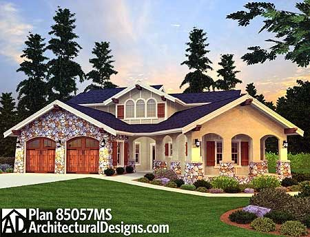Plan 85057ms 3 bed tuscan beauty with casita house for Tuscan home plans with casitas