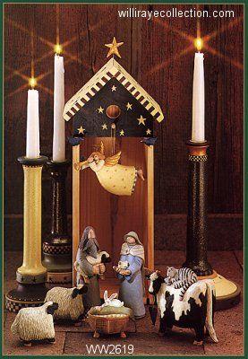 williraye nativity set | WW2619 Christmas nativity includes a cow with a cat, sheep, bunny ...
