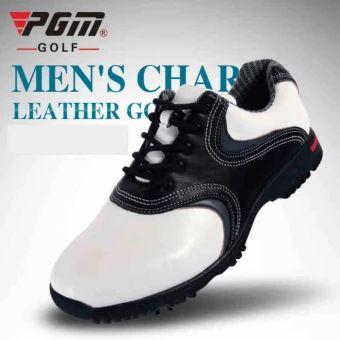 จัดส่งฟรี  PGM Men's Leather Golf Shoes Spikes of Golf Waterproof shoes(WHITE-BLACK) (XZ022)  ราคาเพียง  2,490 บาท  เท่านั้น คุณสมบัติ มีดังนี้ Breathable Waterproof Genuine Leather