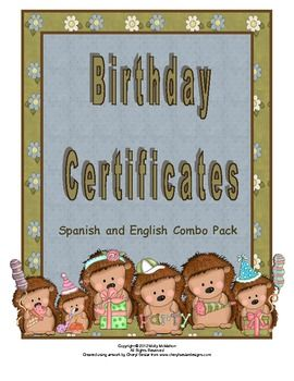 Ever buy a package of classroom birthday certificates from the store and can't remember where you put them?  Purchase this hedgehog theme birthday certificate set and you'll never need to make this purchase at the store again.  Prints two certificates per full sheet of paper.  Option for Spanish text included with the file.  $2.50