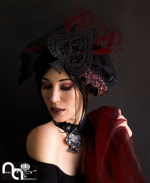 """Don't miss out!  Order you special hat now for the Vodacom Durban July! Fascinator & neclace """"I love horses""""  from manually perforated fabric.  Designed & handmade by Natalia Alexandrova Photography: Ariadna"""
