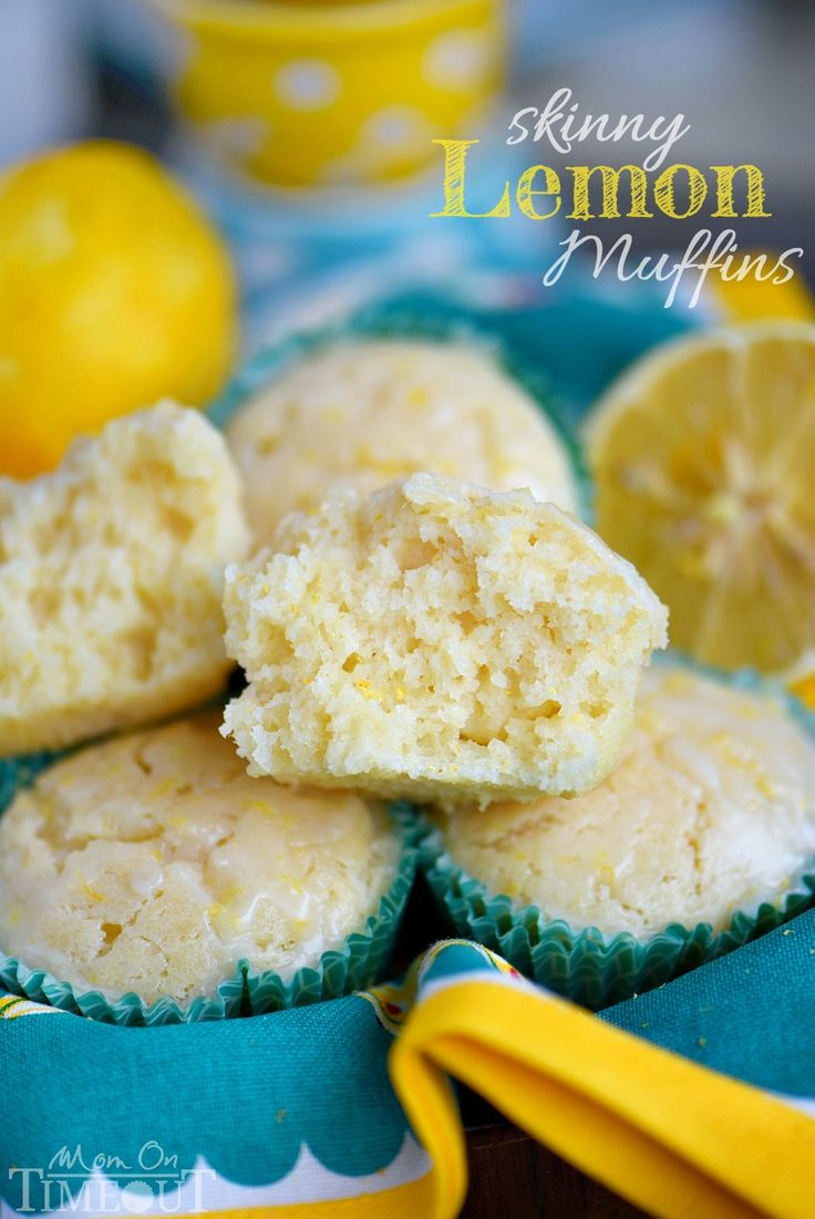 These Skinny Lemon Muffins are made with Greek yogurt, coconut oil and plenty of lemon zest for a fabulous bright, lemon flavor! So tender and moist, these muffins are a great way to start to your day! // Mom On Timeout