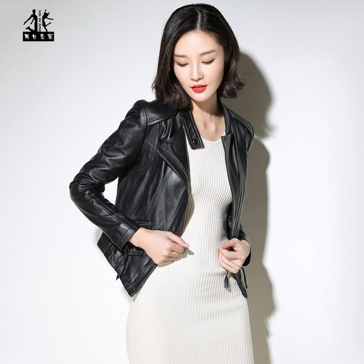 Cheap price US $179.99  2017 Black Genuine Leather Coat Women Stand Collar Slim Fit Fashion Popular Real Sheepskin Female Leather Jacket FREE SHIPPING  . Get promo for product: Leather Jacket Women Tan.