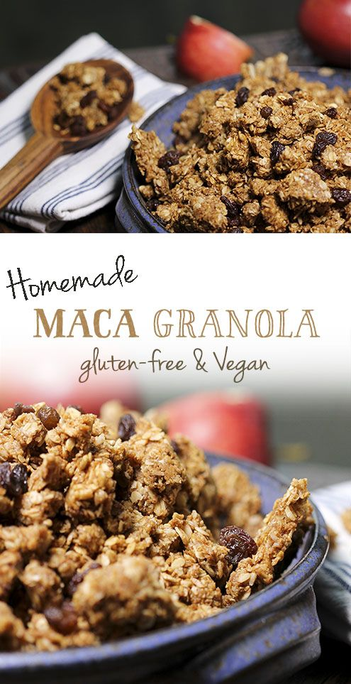 Maca granola - gluten-free, vegan, without refined sugar.