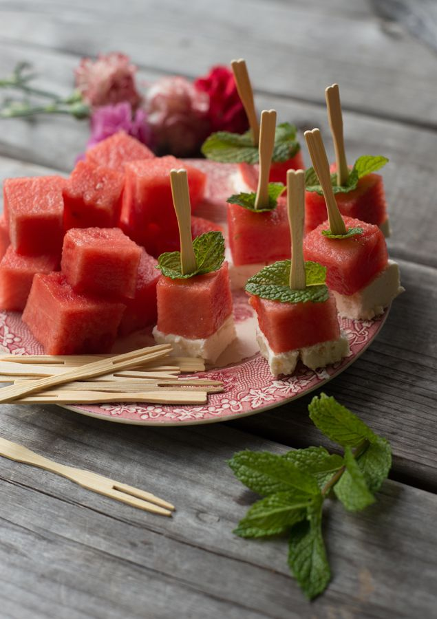 I love a refreshing watermelon salad in the summer with salty feta and fresh mint. I decided to deconstruct the basic ingredients into a fin...