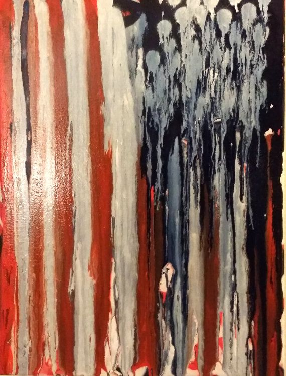 American Flag Art Original Abstract Painting 16x20 Acrylic Painting Pop Art Painting Canvas Wall Art Red White Blue Art Gifts for Him