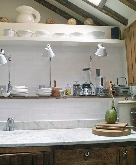 Kitchen Task Lighting Planner Tool Clever Use Of Tolomeo Lamps For A Casual Rustic Also Check Out The Cabinet Pulls Pinterest