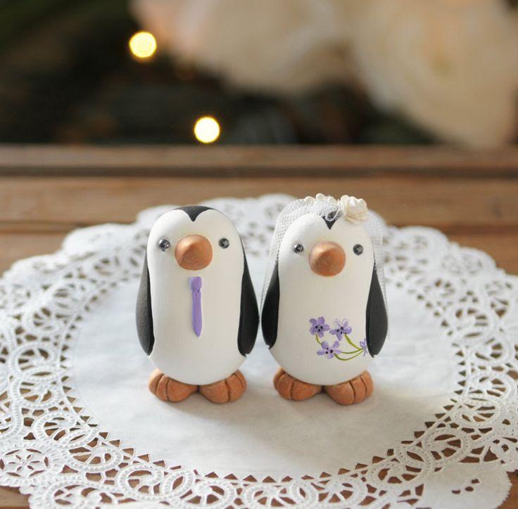 Wedding Cake Topper -- Penguin Cake Topper -- Small. $100.00, via Etsy.