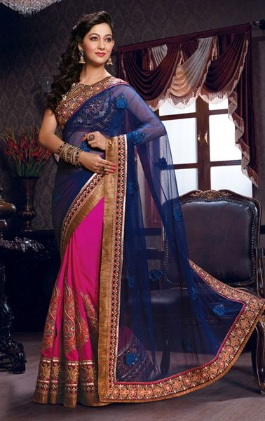 Picture of Awesome Blue and Pink Party Wear Saree