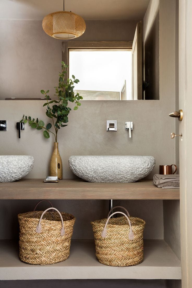 Try #tlcinteriors 'what bathroom design are you?' quiz. We love their decorating ideas! Pictured is an organic bathroom with textured basin and belly baskets