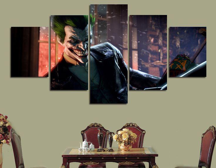 5 Шт. Unframed Отпечатано Комиксы бэтмен arkham asylum Живопись на холсте украшения печати плакат раскраски по номерам картина искусства