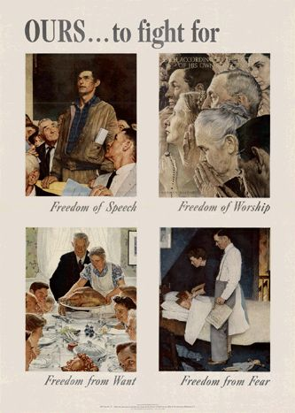 One of its most famous posters, the O.W.I. commissioned Norman Rockwell to create O.W.I Poster No. 47, celebrating the Four Freedoms set down by President Roosevelt in his famous 'Four Freedoms' speech.