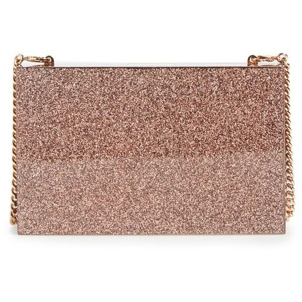 Women's Stella Mccartney 'Mix Glitter' Box Minaudiere (€1.470) ❤ liked on Polyvore featuring bags, handbags, clutches, copper, glitter clutches, stella mccartney purse, glitter purse, over the shoulder purse and over the shoulder handbags