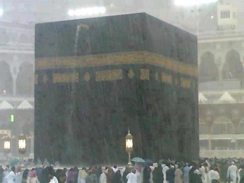 Makkah KSA holy Kaaba , rain